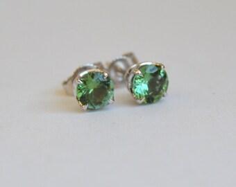 Tourmaline Stud Earrings, Indicolite Tourmaline Earrings, 5mm Tourmaline Earrings, White Gold Tourmaline Studs, 14 Kt Gold Tourmaline Studs