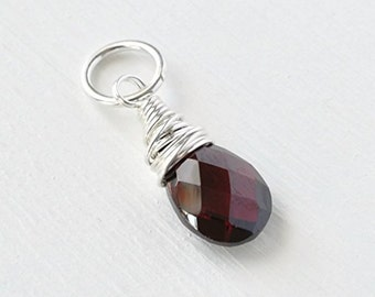 Garnet Briolette Pendant Charm Wire Wrapped in Sterling Silver OR Gold Fill