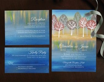 Watercolor Tree Wedding Invitation template / printable / summer green autumn fall painted NRDIY-20165