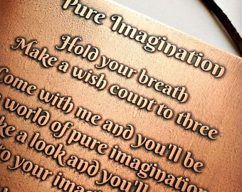 "PURE IMAGINATION Etched Copper Plaque - 5"" x 8"", Song Lyrics, Willy Wonka, Chocolate Factory, Birthday, Graduation, Baby Gift"