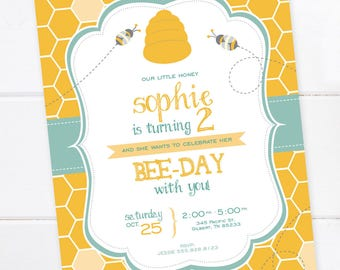 Bumble Bee Birthday Invitation, Bumble Bee Party, Bumble Bee, Summer, Outdoor Party, Honey, Honeycomb, DIGITAL FILE