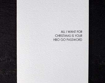holiday wish: HBO go. letterpress card. silver envelope. graeber. #710