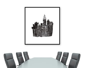 City Skyline Relief Print