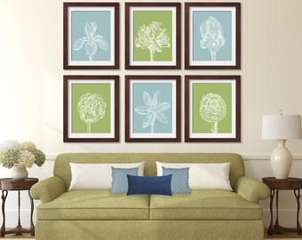 Flower Heads (Series D) Set of 6 - Art Prints (Featured in Basil and Slate blue) Colors Customizable