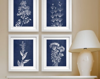 Wild Field Flower  (Series B2) Set of 4 - Art Prints (Featured in China Blue Silk) Botanical Flower Art Prints