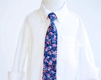 Necktie, Neckties, Boys Tie, Baby Tie, Baby Necktie, Wedding Ties, Ring Bearer, Baby Shower Gift, Rifle Paper Co - PRE-ORDER Rosa In Navy