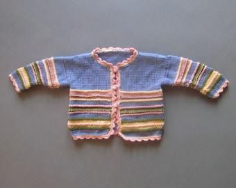 Baby Girl Sweater Handmade Knitted Vintage Children's Clothing