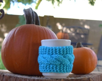 Knit mug cozy cup cozy blue gift under 10 Christmas mug hugger coffee cup cozy