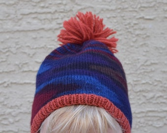 Pom pom cap beainie skull hat gift for her womens gift wool skull hat Christmas winter holidays gift for friend gift under 30 winter hat
