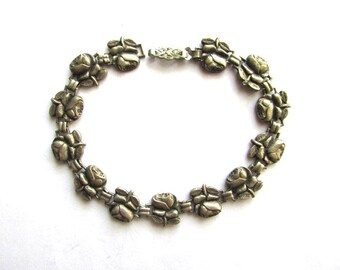 Silver Chaplet Rosary Bracelet Miraculous Medal Roses Vintage Religious Saints Medals Plate Vintage