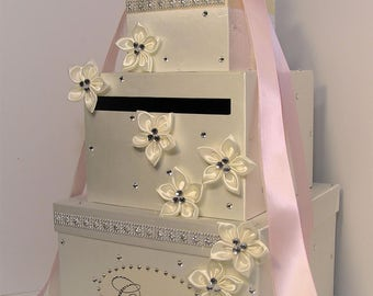 Wedding Card Box Ivory and light pink Gift Card Box Money Card Box Holder-Customize Your Color