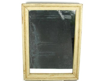 Old Mirror in Carved Wooden Frame Yellow White Wood Frame with Gold and Green Trim Chippy Paint Framed Mirror