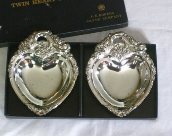 Boxed Set of Silverplate Heart Bonbon Dish, F.B. Rogers Silver Company, Mid Century Floral Scroll Repousse Candy Bowl Trinket Dishes