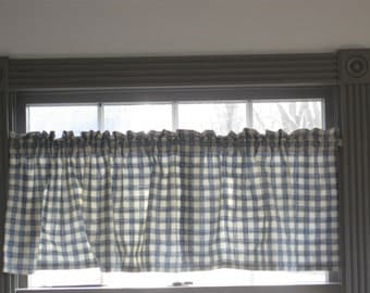 Pair of Vintage Blue and White Check Valance Curtains, Gingham Check Fabric, 52 x 16 Country Farmhouse Window Treatments