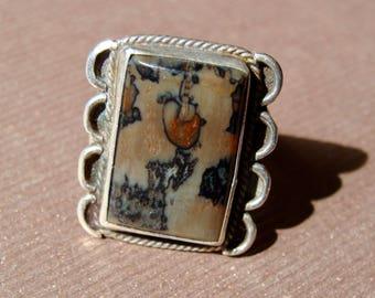 Vintage 1960s SOUTHWESTERN NAVAJO JASPER Agate Ring Sterling Silver Sz 6