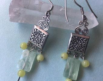 Phrenite and lime Jade crystal earrings