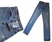 Vintage Levis Jeans 70s Levis 501s High Waist Jeans Faded Distressed Destroyed Levi 501 Button Fly Boyfriend Jeans Vintage Levi Jeans 26X31
