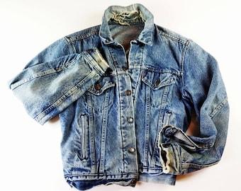 Vintage LEVI Jacket Distressed Destroyed 80s Oversized Levi Jacket Denim Jacket Faded Dark Denim Levis Jacket Mens S / Womens M / L