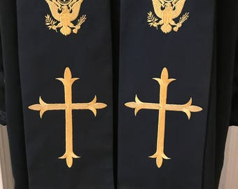 WWII Replica Clergy Stole in Black and Gold