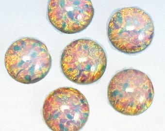 13mm Vintage Glass Cabochon 6 pcs Pink Fire Opal Stones S-97 P