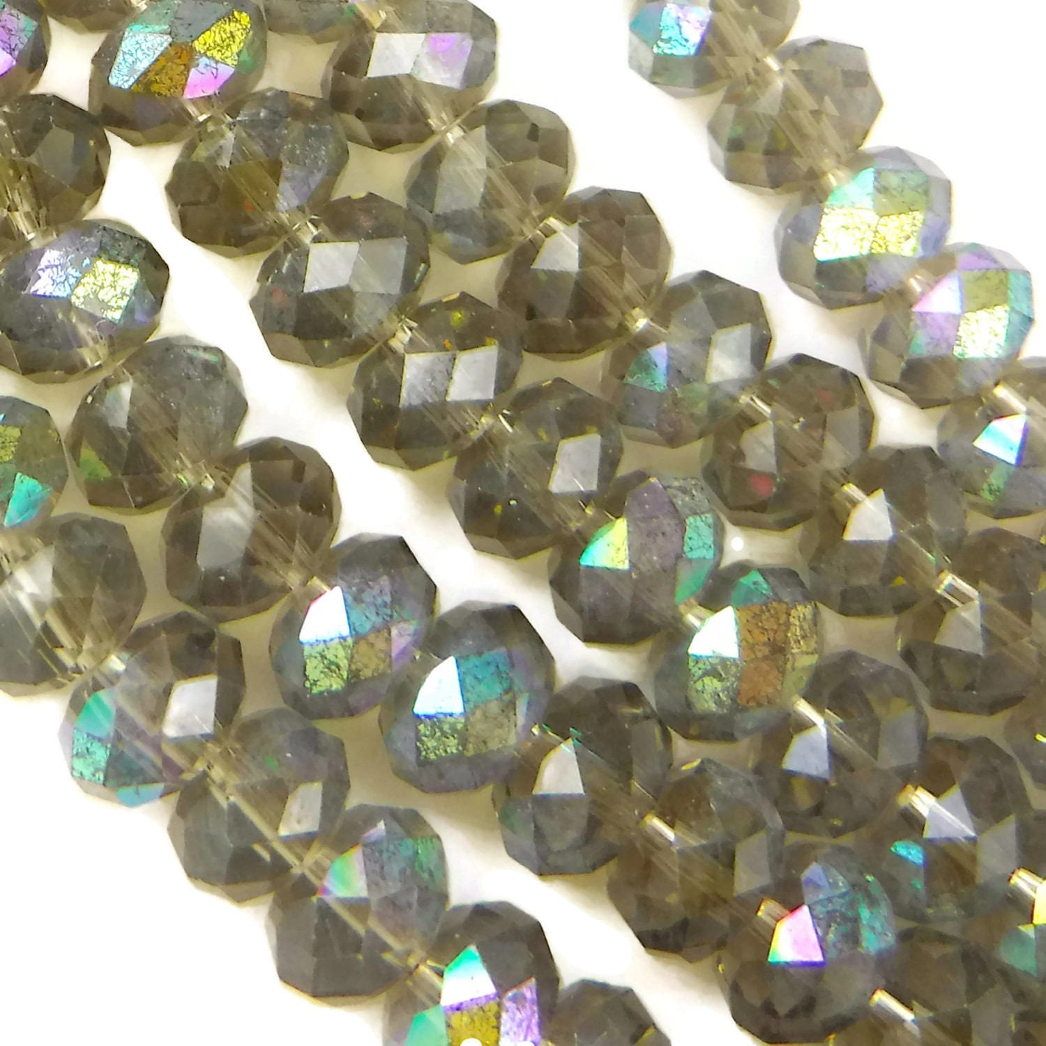 Pcs X Mm Silver Faceted Round Glass Beads