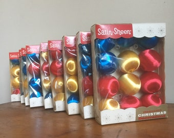 Christmas Holiday Ball Ornaments.  Set of 12 Vintage - Satin Sheen.