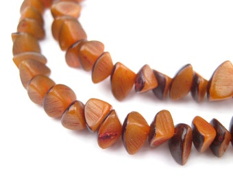 130 Amber Natural Wood Nugget Beads: Brown 8mm Rustic Ethnic Handmade Boho Shaped Traditional Spacer (PAC-NUG-BRN-147)
