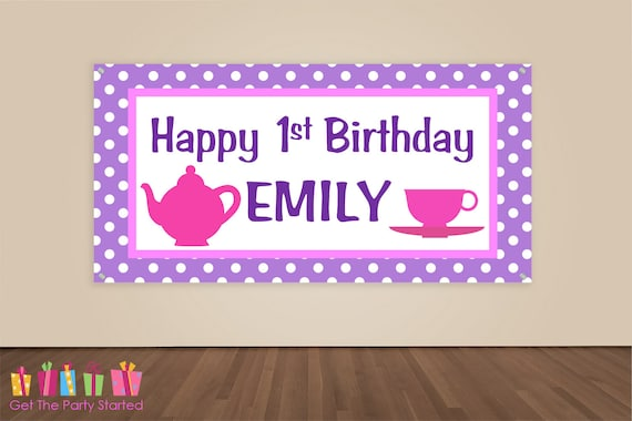 HAPPY BIRTHDAY Banner Tea Party Birthday Decorations Pink Purple