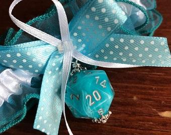 D20 garter blue garter blue dice gamers wedding bridal accessory geek rpg dice blue dungeons and dragons garter pathfinder bride