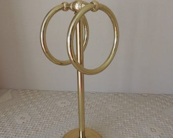 Brass Coated Double Loop Towel Holder. Gold Tone Jewelry Stand. Brassy Double Ring Standing Towel Rack. Black Felt Bottom Brass Stand