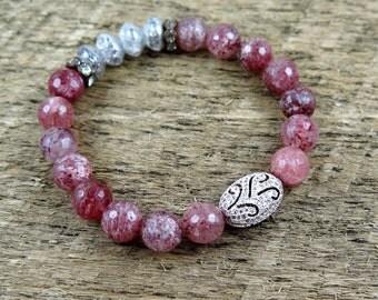 Pink Beaded Bracelet, Quartz Bracelet, Pave Bracelet, Pave Jewelry, Silver Beaded Bracelet