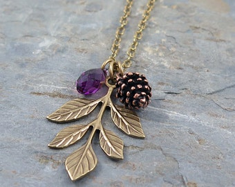 Amethyst Necklace, Leaf Necklace, Pinecone Necklace, Pine Cone Necklace, Crystal Necklace, Bridesmaid Set