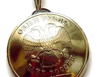 Russian Eagle Coin Pendant Eagle Vintage Necklace Jewelry Unique Charm Finding Bead Foreign World Made in Russia Travel