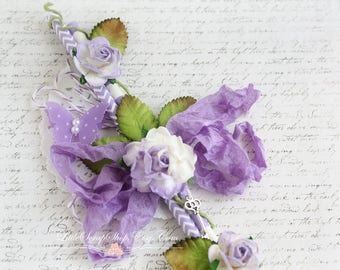 Embellished Straw Vine for Scrapbooking, Altered Art, Home Decor, Purple