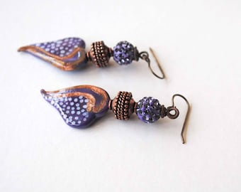 Purple Heart Earrings, Sparkling Earrings, Lampwork Glass Earrings, Copper Earrings, Boho Chic Earrings
