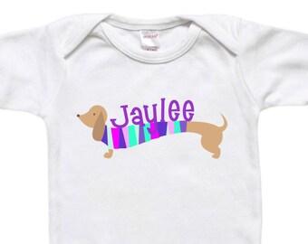Personalized Baby Bodysuit - Toddler Shirt Tshirt - Baby Shower Gift - Dachshund Weiner Dog