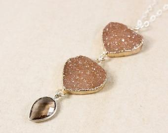 50 OFF SALE Silver Brown Druzy & Smokey Quartz Necklace - Long Druzy Necklace