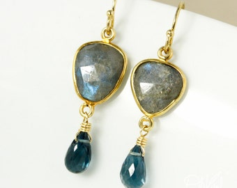 Gold Free Form Blue Labradorite & London Blue Topaz Earrings - 14Kt Gold Filled