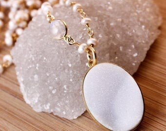 50% OFF Snow White Druzy Necklace - Freshwater Pearl Chain - Moonstone, Layering Necklace
