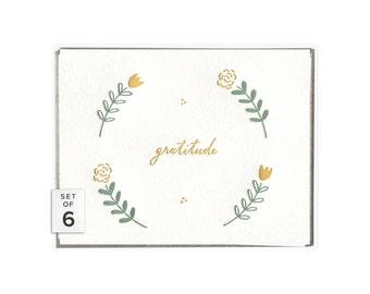 Floral Gratitude letterpress card - set of six