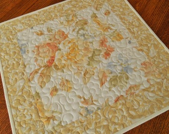 Cottage Chic Quilted Table Topper with Roses and Birds, Yellow Peach and Blue, Floral Table Topper, Bedroom Decor, Square Tablecloth