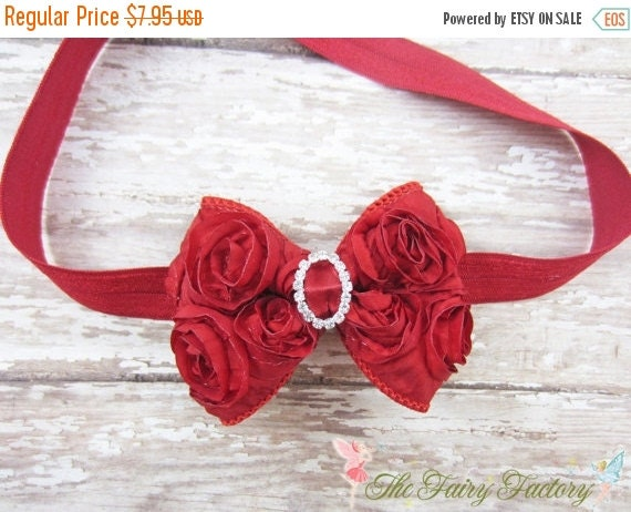 Red Hair Bow, Mini Satin Rosette Bow w/ Crystals Headband or Hair Clip, Petite Virginia, Newborn Headbands, Child Baby Girls Headband