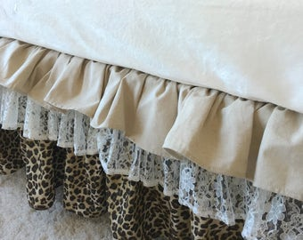 Ruffled Crib Skirt, Linen Crib Skirt, Baby Dust Ruffle, Crib Skirt, Leopard Crib Skirt, Girl Crib Skirt, Crib Dust Ruffle, Lace Crib Skirt