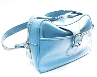 Mid Century Blue Flight Bag Vintage 1960s 1970s Airplane Carry On Shoulder Bag Travel Luggage