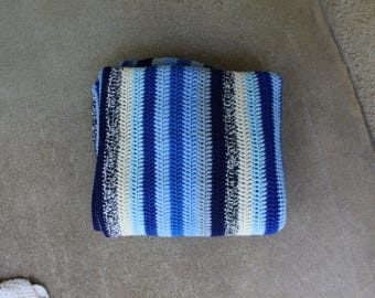 Vintage Afghan Blanket Crocheted Blue Stripes Striped Home Deoor Lap Throw