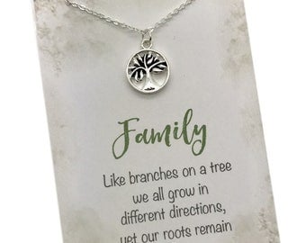 Family Tree Necklace, tree of life necklace, ancestry, genealogy, family reunion gift,  Gift for mom, grandma gift, college going away gift