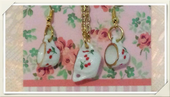 Vintage Cherry Pattern, Dainty Mini Porcelain Teacup Hook/Dangle Earrings, Mini Sugar Bowl Pendant Necklace Set