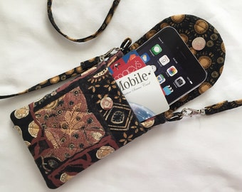 Iphone 6 Plus Smart Phone Gadget Case Detachable Neck Strap Quilted Fabric African Print Brown Black