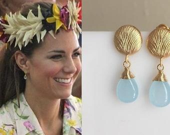 Kate Middleton Aqua Teardrop Gold Drop Earrings