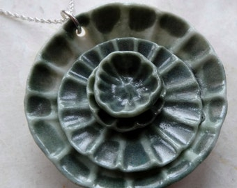 artisan handmade sage green daisy flower porcelain pendant 925 sterling silver chain necklace , katy wroe -ref152